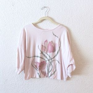 80s Pink Tulip Cropped Short Sleeve Sweater